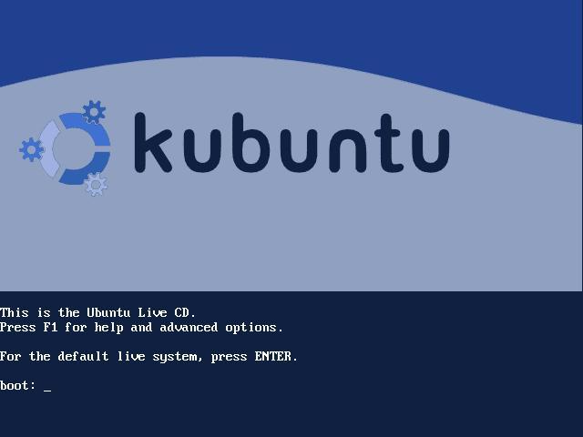 écran de démarrage de Kubuntu Hoary RC