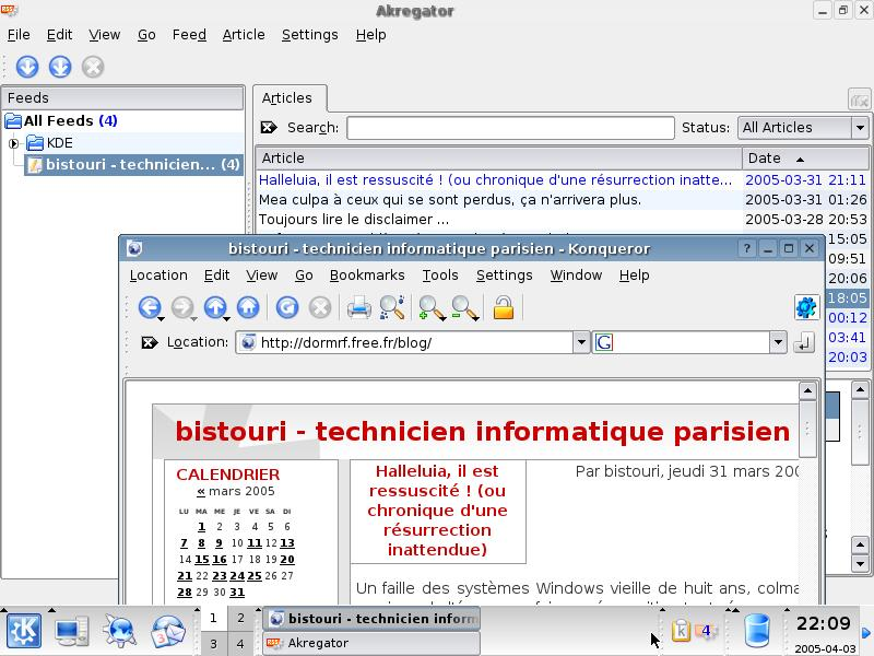photo d'écran Kubuntu : aKregator + Konqueror